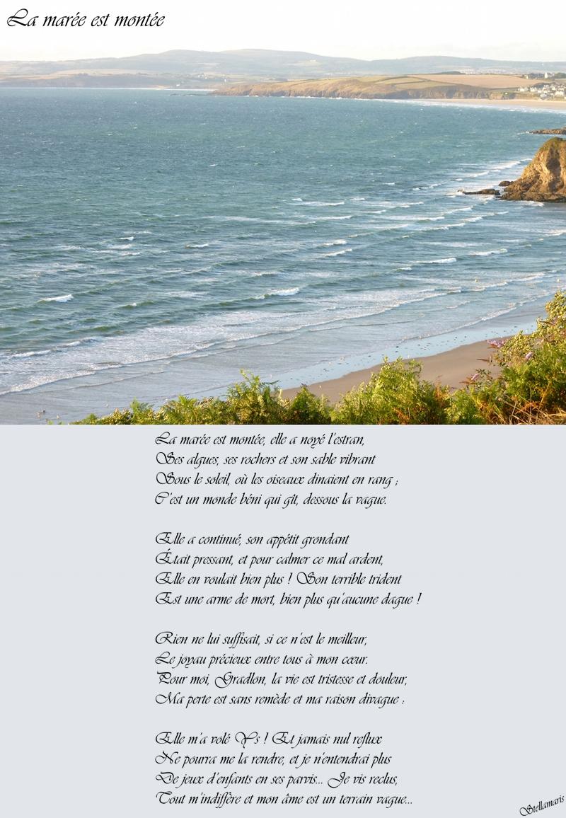 La marée est montée / / La marée est montée, elle a noyé l'estran, / Ses algues, ses rochers et son sable vibrant / Sous le soleil, où les oiseaux dinaient en rang ; / C'est un monde béni qui gît, dessous la vague. / / Elle a continué, son appétit grondant / Était pressant, et pour calmer ce mal ardent, / Elle en voulait bien plus ! Son terrible trident / Est une arme de mort, bien plus qu'aucune dague ! / / Rien ne lui suffisait, si ce n'est le meilleur, / Le joyau précieux entre tous à mon cœur. / Pour moi, Gradlon, la vie est tristesse et douleur, / Ma perte est sans remède et ma raison divague : / / Elle m'a volé Ys ! Et jamais nul reflux / Ne pourra me la rendre, et je n'entendrai plus / De jeux d'enfants en ses parvis... Je vis reclus, / Tout m'indiffère et mon âme est un terrain vague... / / Stellamaris